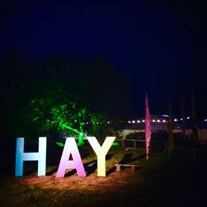 Hay festival at night